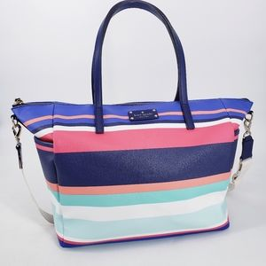 Kate Spade Kaylie Leather Striped Diaper Tote Bag